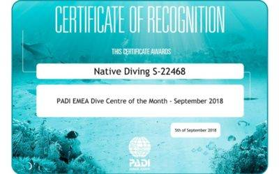 PADI Dive Center Award Septembre 2018